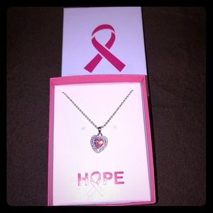 NEW Breast Cancer Awareness Hope Necklace Pink